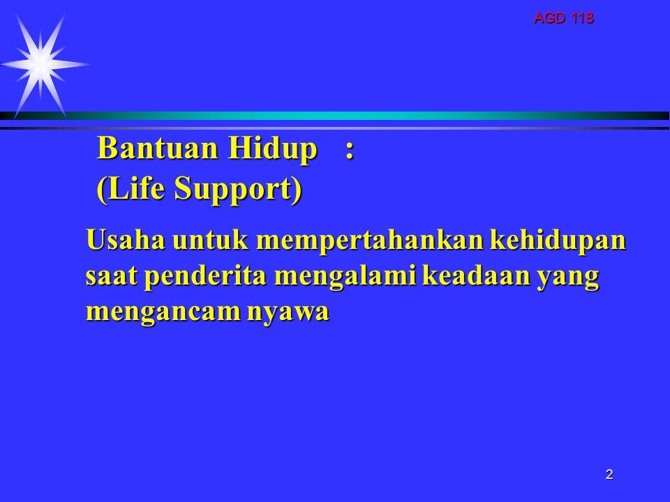 AGD 118 2 Usaha untuk mempertahankan kehidupan saat penderita mengalami keadaan yang mengancam nyawa Bantuan Hidup : (Life Support)