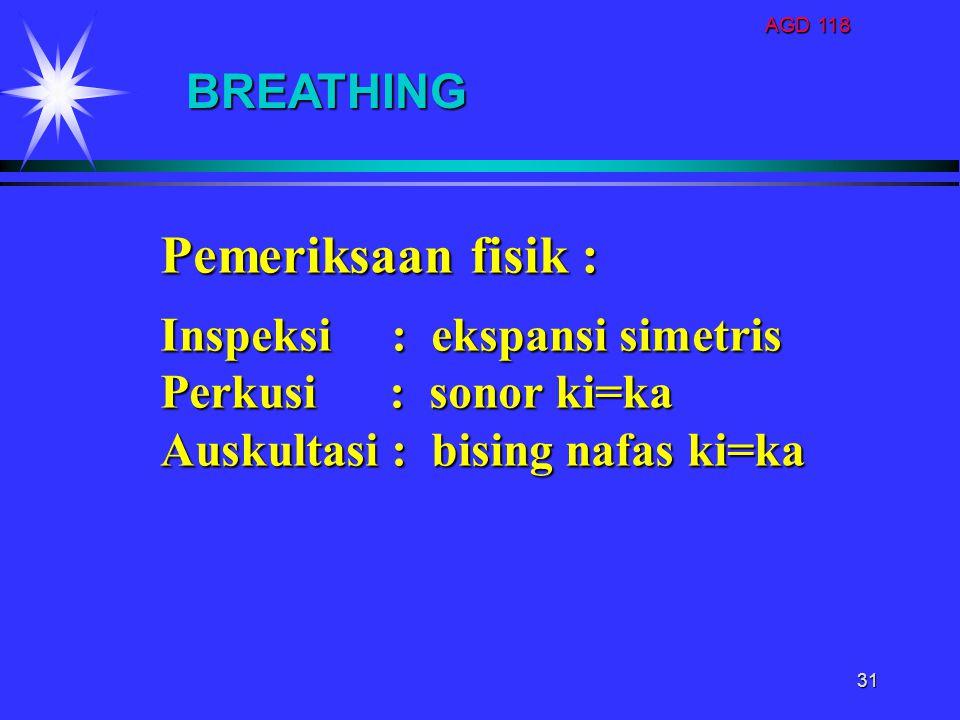 AGD 118 31 BREATHING Pemeriksaan fisik : Inspeksi : ekspansi simetris Perkusi : sonor ki=ka Auskultasi : bising nafas ki=ka