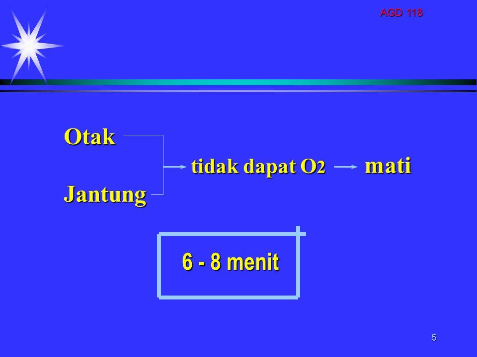 AGD 118 5 Otak tidak dapat O 2 mati tidak dapat O 2 matiJantung 6 - 8 menit 6 - 8 menit