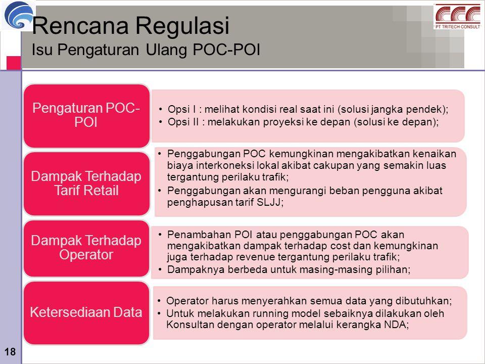 18 Rencana Regulasi Isu Pengaturan Ulang POC-POI Opsi I : melihat kondisi real saat ini (solusi jangka pendek); Opsi II : melakukan proyeksi ke depan