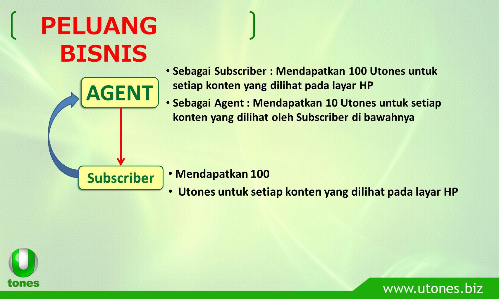 Ilustrasi Penghargaan AGENT, Asumsi: Agent dapat merekrut 100 Subscriber : 100 Subscriber Setiap Subscriber medapatkan 20 view/ hari : 20 view X 30 hari = 600 view Agent mendapat 10 utones untuk setiap view yang dilihat oleh subscribernya, maka : 150 subscriber X 600 view X 10 utones = 900.000 utones/bulan AGENT AKTIF, Asumsi: Agent dapat merekrut 1000 Subscriber : 1000 Subscriber Setiap Subscriber medapatkan 20 view/ hari : 20 view X 30 hari = 600 view Agent mendapat 10 utones untuk setiap view yang dilihat oleh subscribernya, maka : 1000 subscriber X 600 view X 10 utones = 6.000.000 utones/bulan Selamanya….