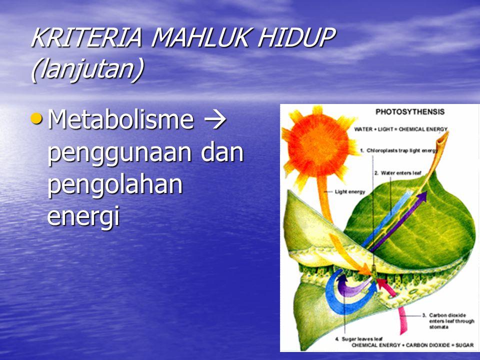 KRITERIA MAHLUK HIDUP (lanjutan) Metabolisme  penggunaan dan pengolahan energi Metabolisme  penggunaan dan pengolahan energi
