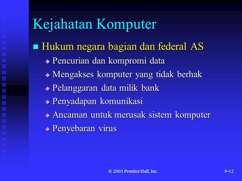 © 2003 Prentice Hall, Inc.9-12 Kejahatan Komputer Hukum negara bagian dan federal AS Hukum negara bagian dan federal AS  Pencurian dan kompromi data