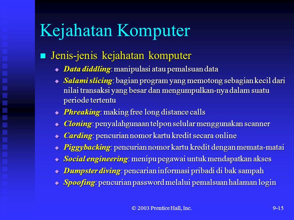 © 2003 Prentice Hall, Inc.9-15 Kejahatan Komputer Jenis-jenis kejahatan komputer Jenis-jenis kejahatan komputer  Data diddling: manipulasi atau pemal