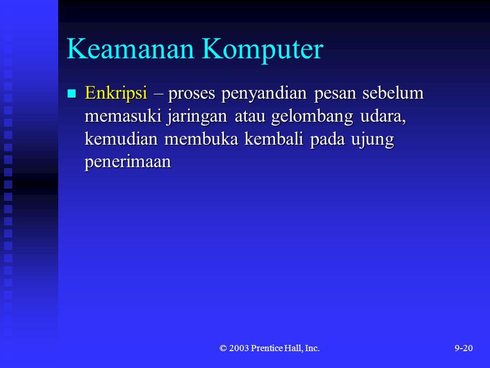 © 2003 Prentice Hall, Inc.9-20 Keamanan Komputer Enkripsi – proses penyandian pesan sebelum memasuki jaringan atau gelombang udara, kemudian membuka k