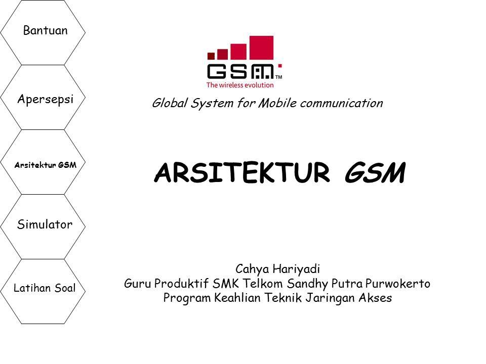 ARSITEKTUR GSM Global System for Mobile communication Cahya Hariyadi Guru Produktif SMK Telkom Sandhy Putra Purwokerto Program Keahlian Teknik Jaringa