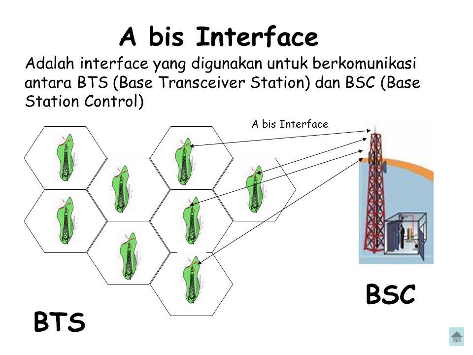 A bis Interface Adalah interface yang digunakan untuk berkomunikasi antara BTS (Base Transceiver Station) dan BSC (Base Station Control) BTS BSC A bis