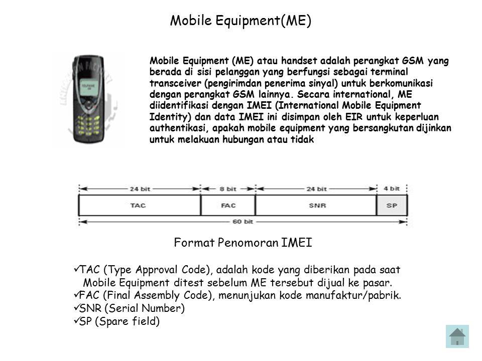 Equipment Identity Registration (EIR) EIR memuat data-data peralatan pelanggan (Mobile Equipment) yang diidentifikasikan dengan IMEI (International Mobile equipment Identity).