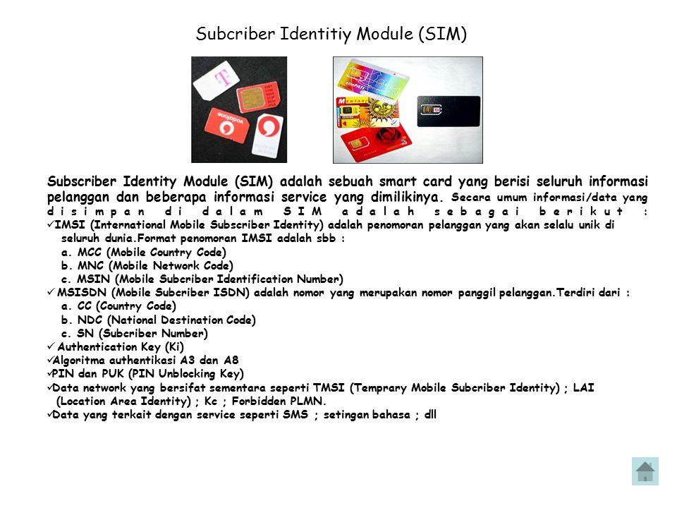Subcriber Identitiy Module (SIM) Subscriber Identity Module (SIM) adalah sebuah smart card yang berisi seluruh informasi pelanggan dan beberapa inform