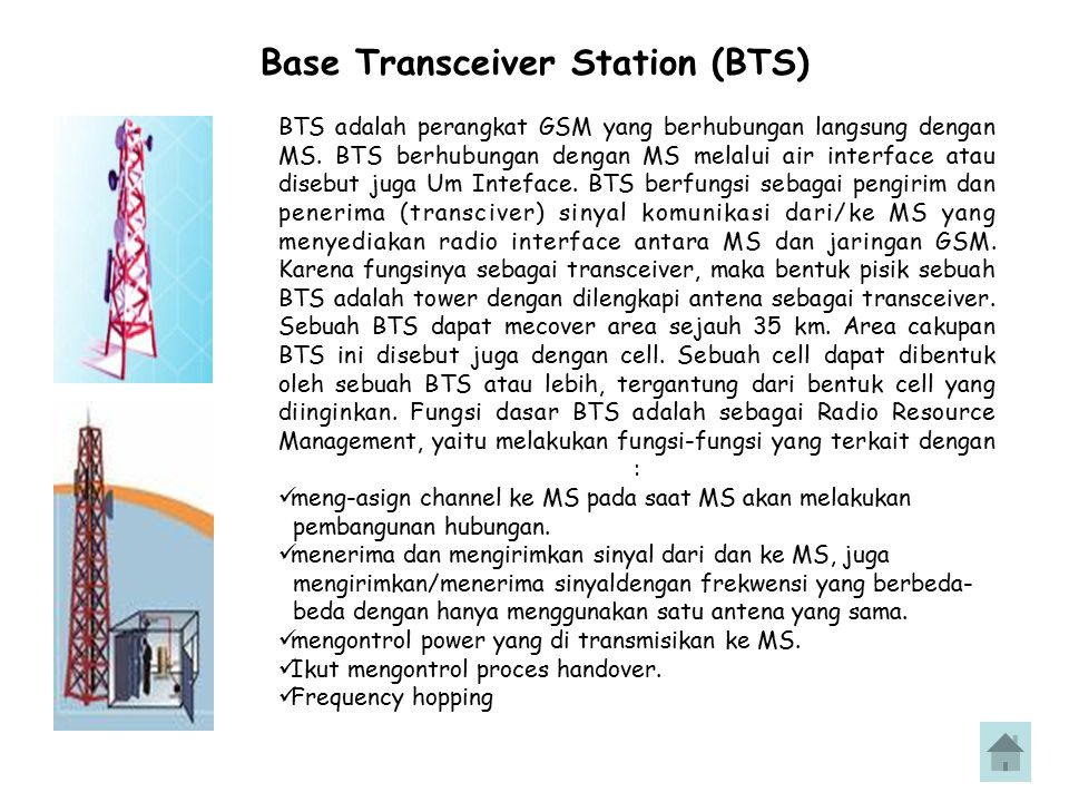 Base Transceiver Station (BTS) BTS adalah perangkat GSM yang berhubungan langsung dengan MS. BTS berhubungan dengan MS melalui air interface atau dise