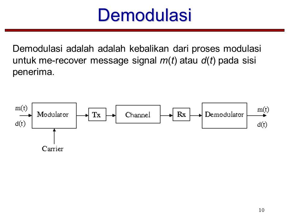 10 Demodulasi Demodulasi adalah adalah kebalikan dari proses modulasi untuk me-recover message signal m(t) atau d(t) pada sisi penerima.