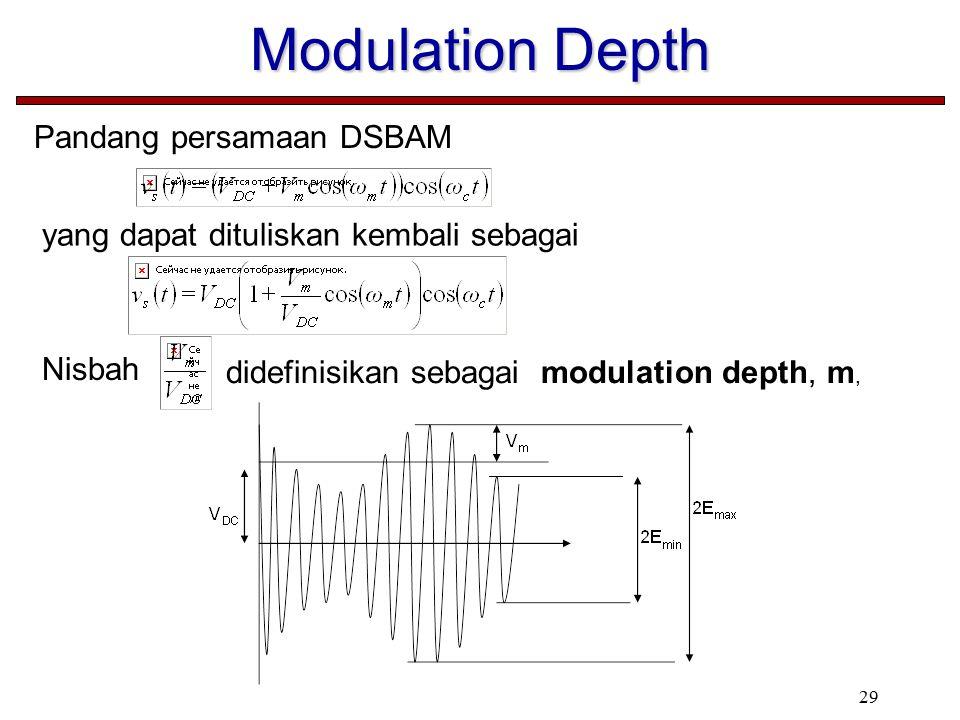 29 Modulation Depth Pandang persamaan DSBAM yang dapat dituliskan kembali sebagai Nisbah didefinisikan sebagai modulation depth, m,