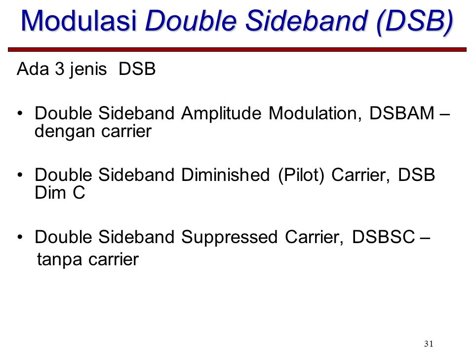 31 Modulasi Double Sideband (DSB) Ada 3 jenis DSB Double Sideband Amplitude Modulation, DSBAM – dengan carrier Double Sideband Diminished (Pilot) Carr