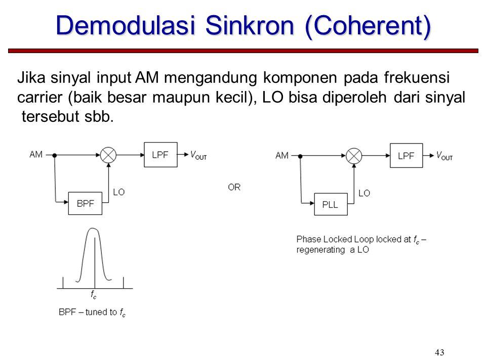 43 Demodulasi Sinkron (Coherent) Jika sinyal input AM mengandung komponen pada frekuensi carrier (baik besar maupun kecil), LO bisa diperoleh dari sinyal tersebut sbb.