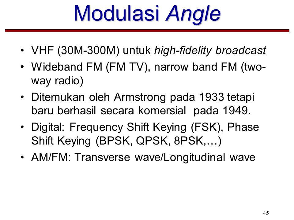 45 Modulasi Angle VHF (30M-300M) untuk high-fidelity broadcast Wideband FM (FM TV), narrow band FM (two- way radio) Ditemukan oleh Armstrong pada 1933 tetapi baru berhasil secara komersial pada 1949.