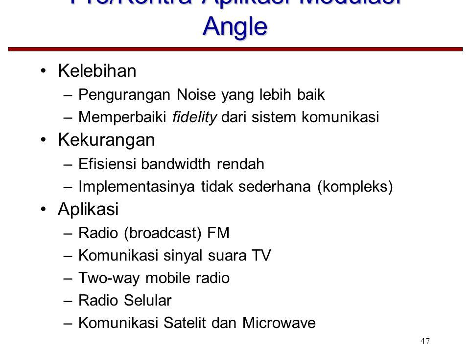 47 Pro/Kontra Aplikasi Modulasi Angle Kelebihan –Pengurangan Noise yang lebih baik –Memperbaiki fidelity dari sistem komunikasi Kekurangan –Efisiensi bandwidth rendah –Implementasinya tidak sederhana (kompleks) Aplikasi –Radio (broadcast) FM –Komunikasi sinyal suara TV –Two-way mobile radio –Radio Selular –Komunikasi Satelit dan Microwave