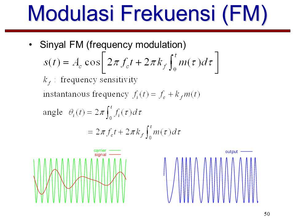 50 Modulasi Frekuensi (FM) Sinyal FM (frequency modulation)