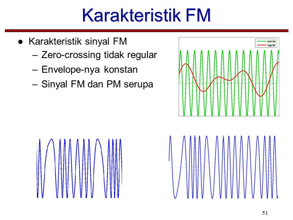 51 Karakteristik FM Karakteristik sinyal FM –Zero-crossing tidak regular –Envelope-nya konstan –Sinyal FM dan PM serupa