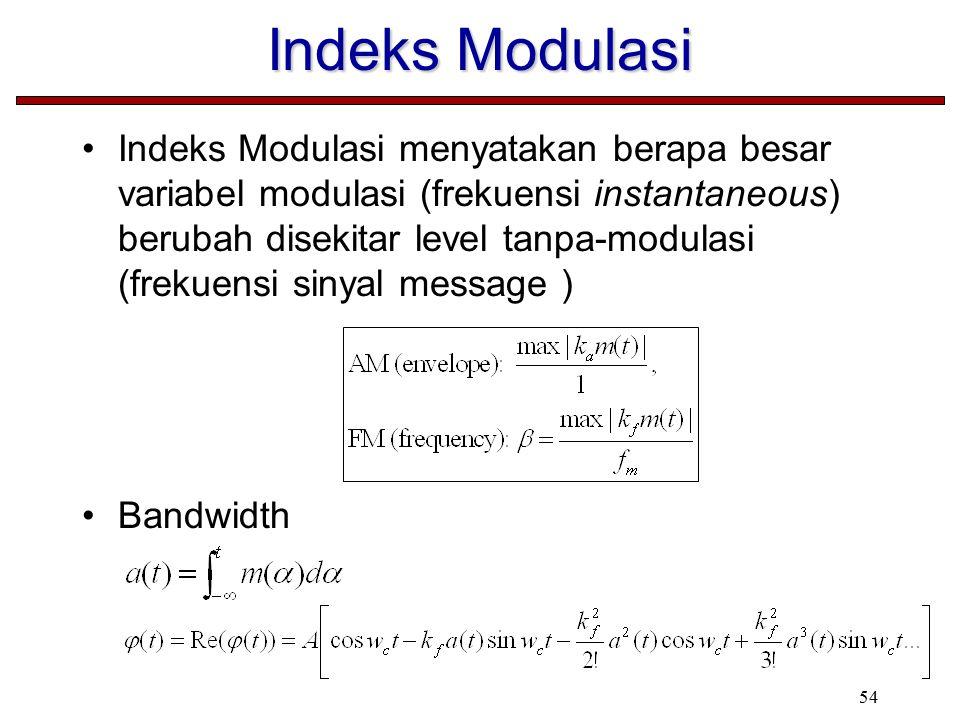 54 Indeks Modulasi Indeks Modulasi menyatakan berapa besar variabel modulasi (frekuensi instantaneous) berubah disekitar level tanpa-modulasi (frekuensi sinyal message ) Bandwidth