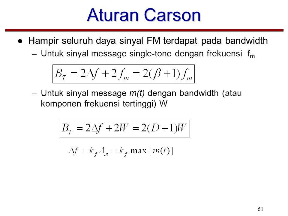 61 Aturan Carson Hampir seluruh daya sinyal FM terdapat pada bandwidth –Untuk sinyal message single-tone dengan frekuensi f m –Untuk sinyal message m(t) dengan bandwidth (atau komponen frekuensi tertinggi) W
