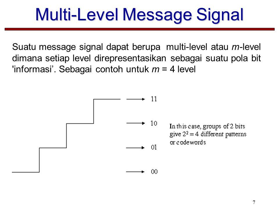 7 Multi-Level Message Signal Suatu message signal dapat berupa multi-level atau m-level dimana setiap level direpresentasikan sebagai suatu pola bit informasi'.