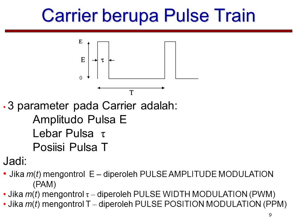 9 Carrier berupa Pulse Train 3 parameter pada Carrier adalah: Amplitudo Pulsa E Lebar Pulsa τ Posiisi Pulsa T Jadi: Jika m(t) mengontrol E – diperoleh