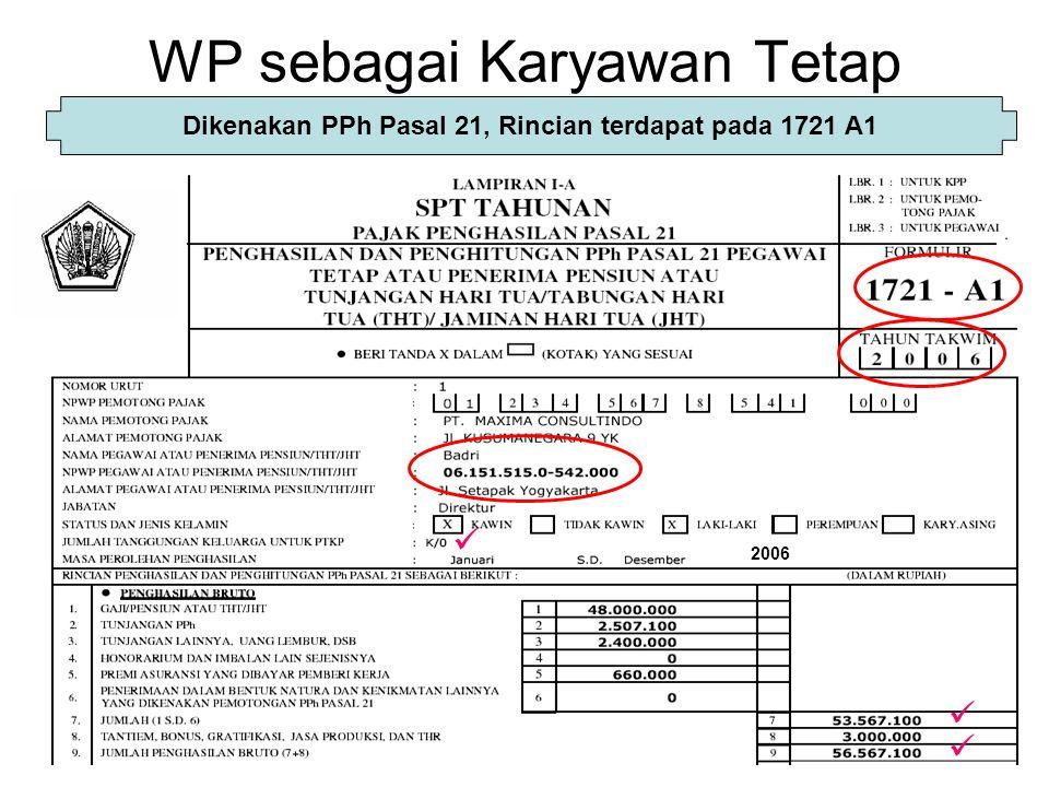 WP sebagai Karyawan Tetap Dikenakan PPh Pasal 21, Rincian terdapat pada 1721 A1 2006