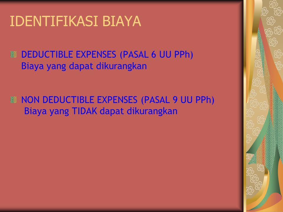 IDENTIFIKASI BIAYA DEDUCTIBLE EXPENSES (PASAL 6 UU PPh) Biaya yang dapat dikurangkan NON DEDUCTIBLE EXPENSES (PASAL 9 UU PPh) Biaya yang TIDAK dapat d