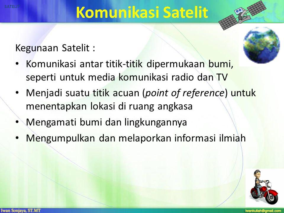 21 Komunikasi Satelit Kegunaan Satelit : Komunikasi antar titik-titik dipermukaan bumi, seperti untuk media komunikasi radio dan TV Menjadi suatu titi