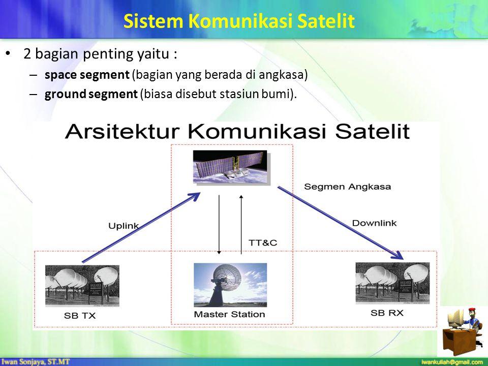 22 Sistem Komunikasi Satelit 2 bagian penting yaitu : – space segment (bagian yang berada di angkasa) – ground segment (biasa disebut stasiun bumi).
