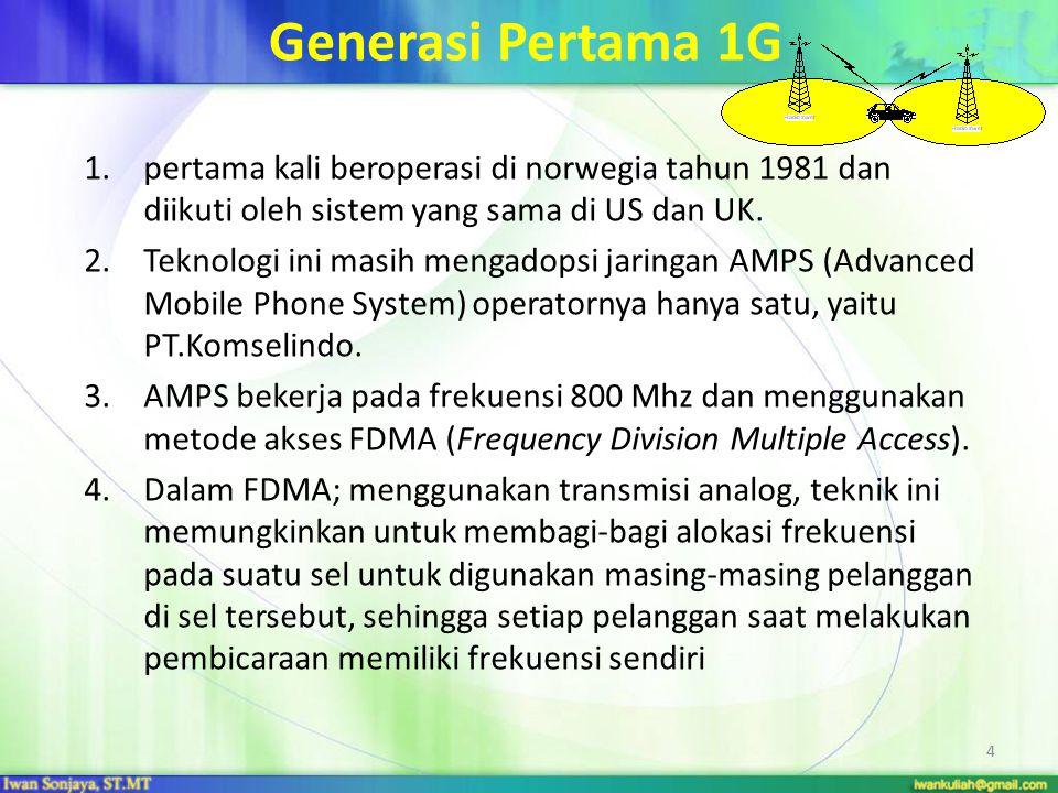 Generasi Pertama 1G 1.pertama kali beroperasi di norwegia tahun 1981 dan diikuti oleh sistem yang sama di US dan UK. 2.Teknologi ini masih mengadopsi