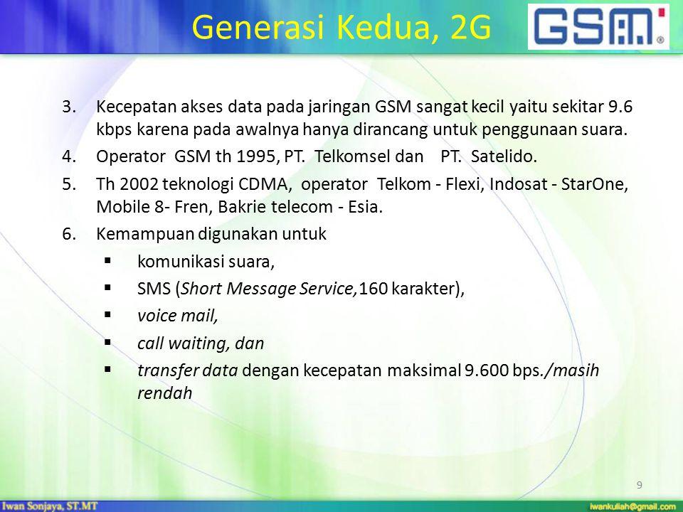 Generasi Kedua, 2G Kelemahan teknologi 2 G: Kecepatan transfer data masih rendah.