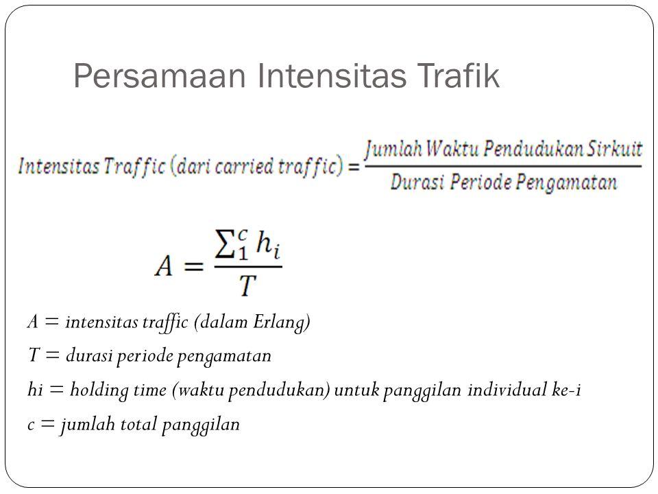 Persamaan Intensitas Trafik A = intensitas traffic (dalam Erlang) T = durasi periode pengamatan hi = holding time (waktu pendudukan) untuk panggilan i