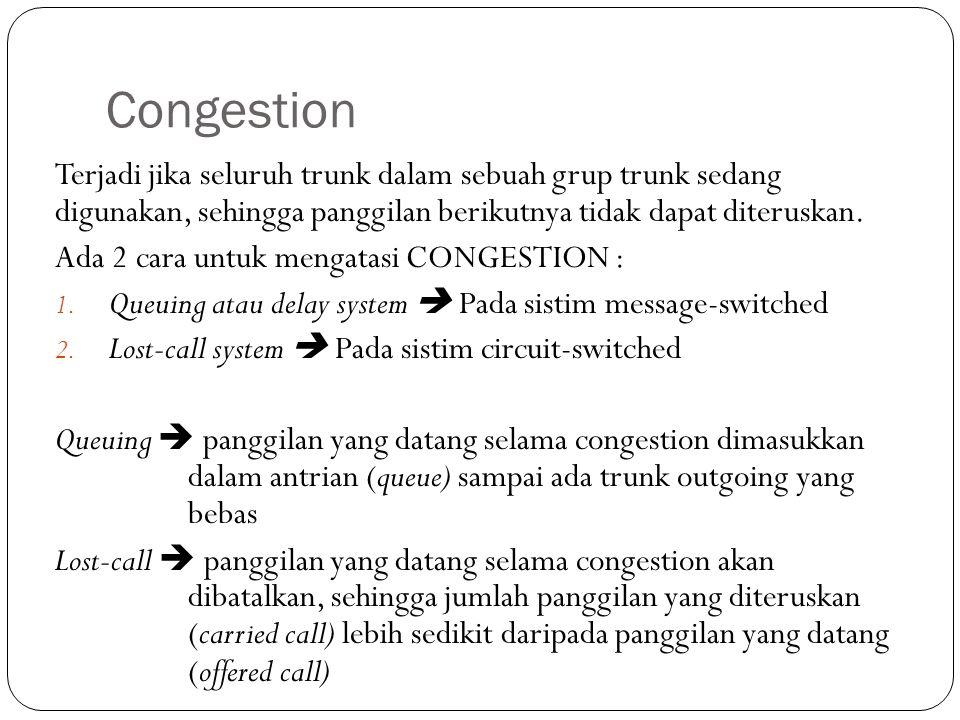 Congestion Terjadi jika seluruh trunk dalam sebuah grup trunk sedang digunakan, sehingga panggilan berikutnya tidak dapat diteruskan. Ada 2 cara untuk