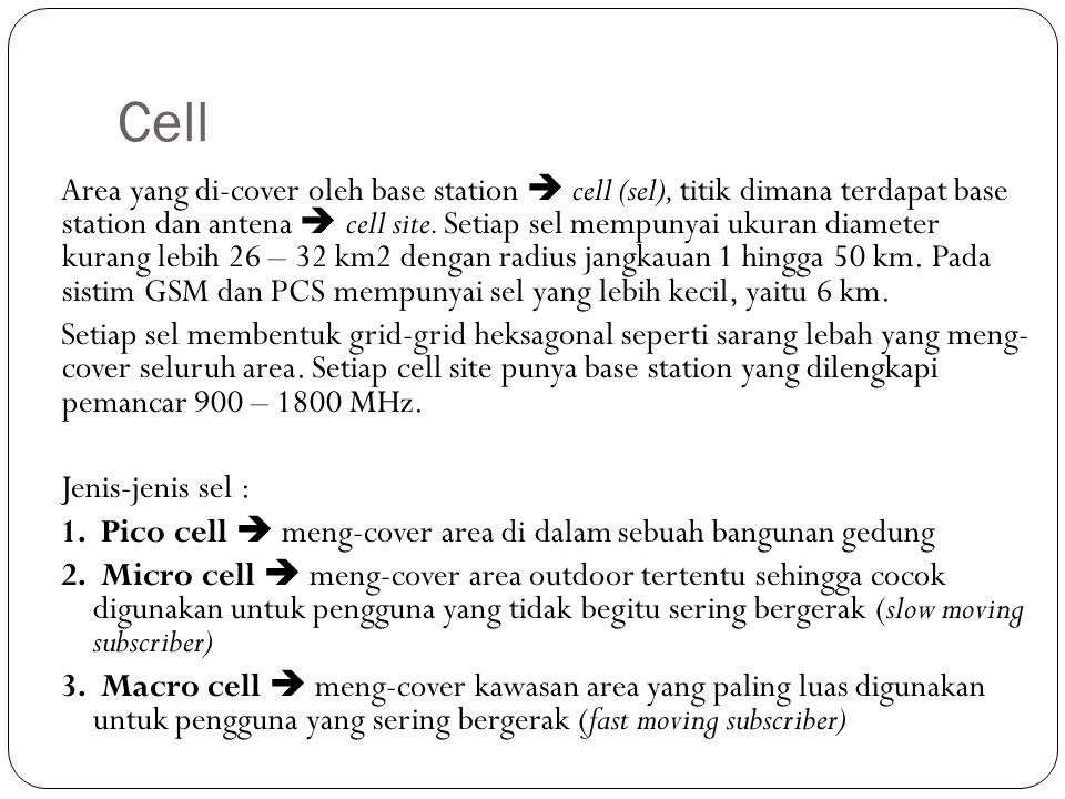 Cell Area yang di-cover oleh base station  cell (sel), titik dimana terdapat base station dan antena  cell site. Setiap sel mempunyai ukuran diamete