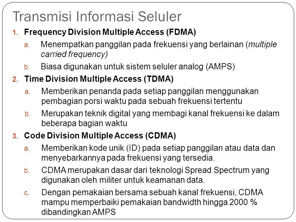 Transmisi Informasi Seluler 1. Frequency Division Multiple Access (FDMA) a. Menempatkan panggilan pada frekuensi yang berlainan (multiple carried freq