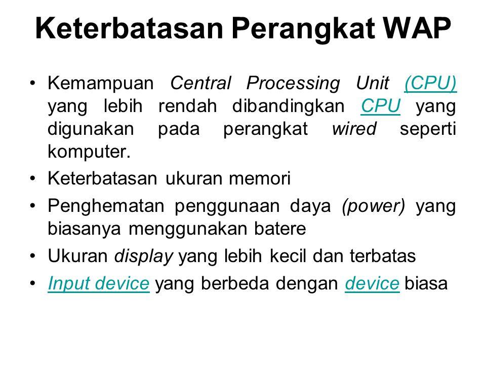 Keterbatasan Perangkat WAP Kemampuan Central Processing Unit (CPU) yang lebih rendah dibandingkan CPU yang digunakan pada perangkat wired seperti komp