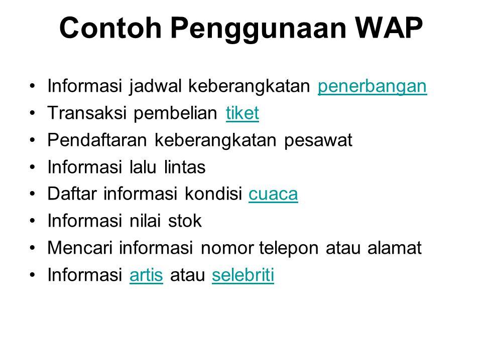 Contoh Penggunaan WAP Informasi jadwal keberangkatan penerbanganpenerbangan Transaksi pembelian tikettiket Pendaftaran keberangkatan pesawat Informasi