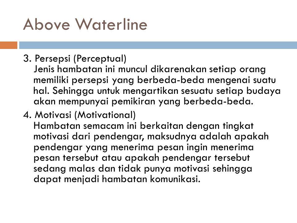 Above Waterline 3. Persepsi (Perceptual) Jenis hambatan ini muncul dikarenakan setiap orang memiliki persepsi yang berbeda-beda mengenai suatu hal. Se