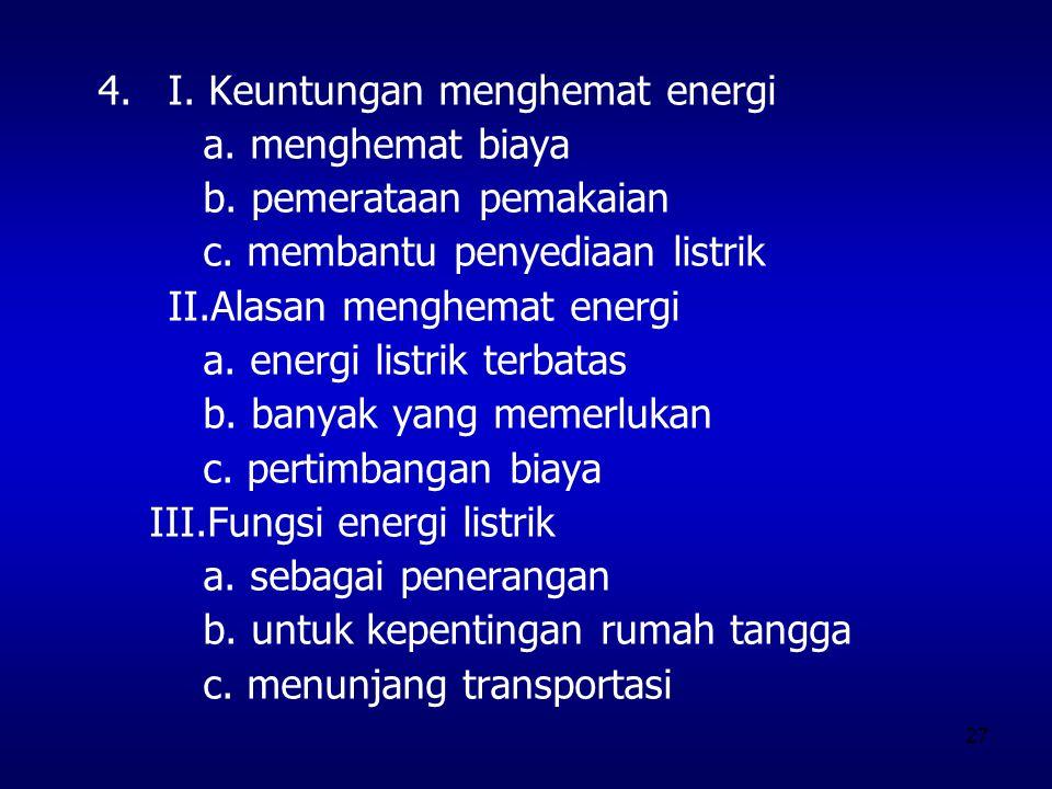 27 4.I. Keuntungan menghemat energi a. menghemat biaya b. pemerataan pemakaian c. membantu penyediaan listrik II.Alasan menghemat energi a. energi lis