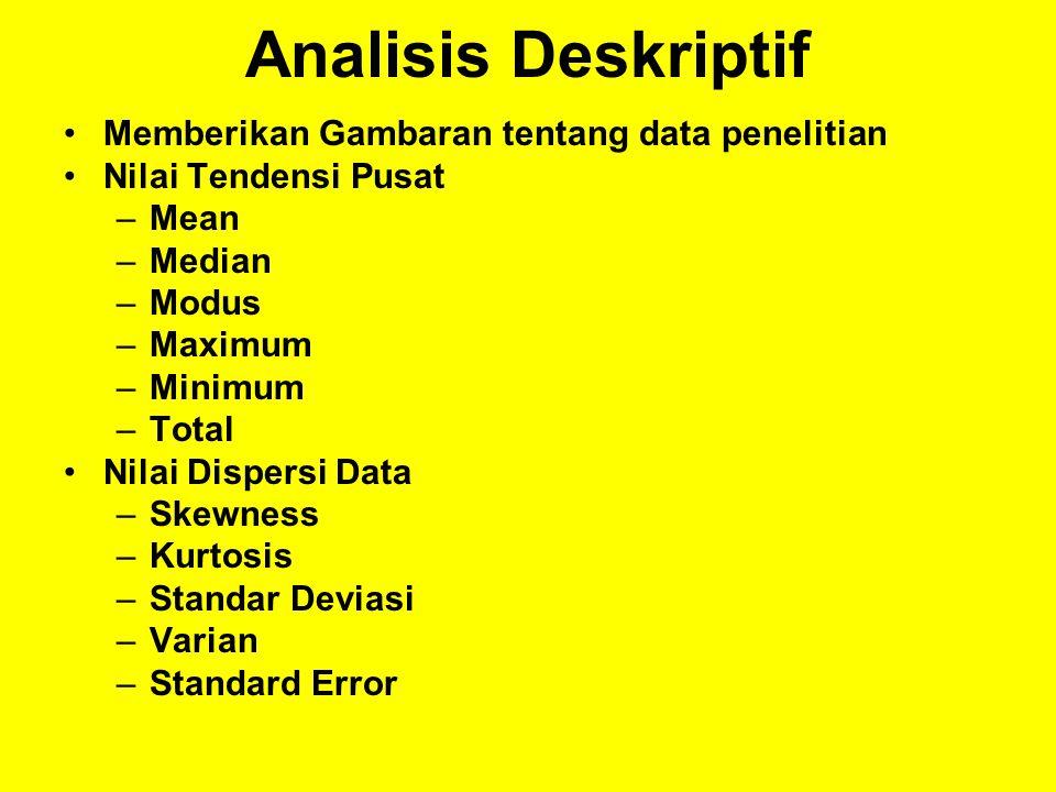 Analisis Deskriptif Memberikan Gambaran tentang data penelitian Nilai Tendensi Pusat –Mean –Median –Modus –Maximum –Minimum –Total Nilai Dispersi Data