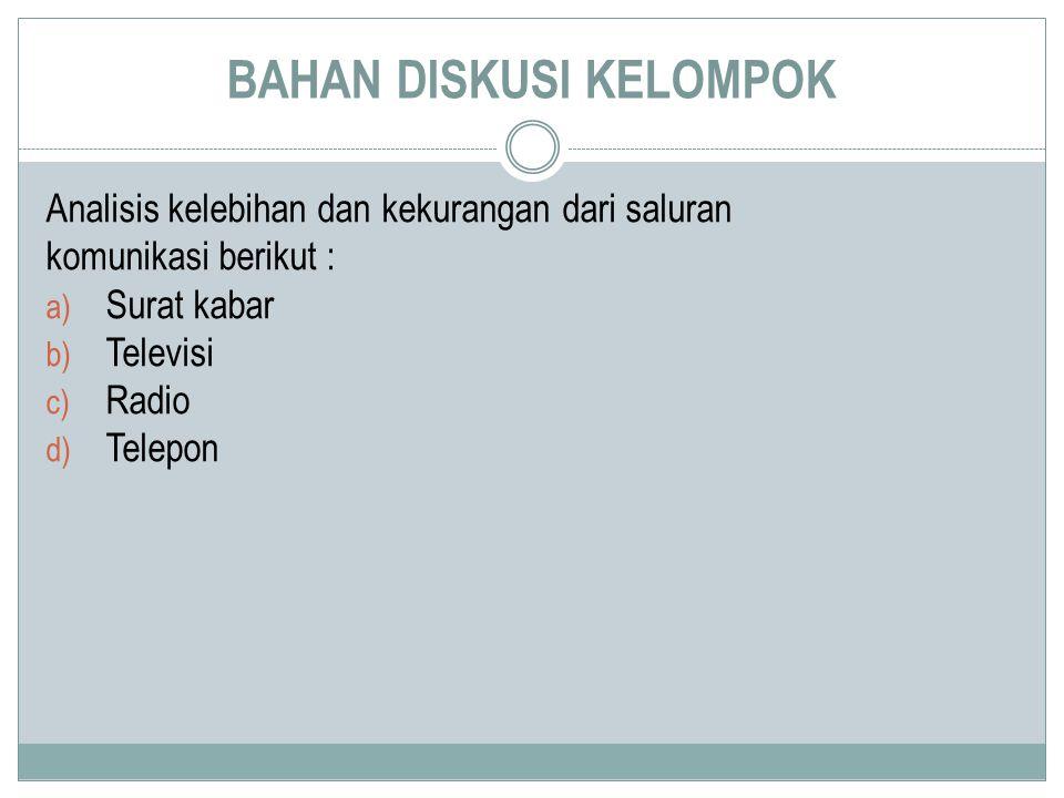 BAHAN DISKUSI KELOMPOK Analisis kelebihan dan kekurangan dari saluran komunikasi berikut : a) Surat kabar b) Televisi c) Radio d) Telepon