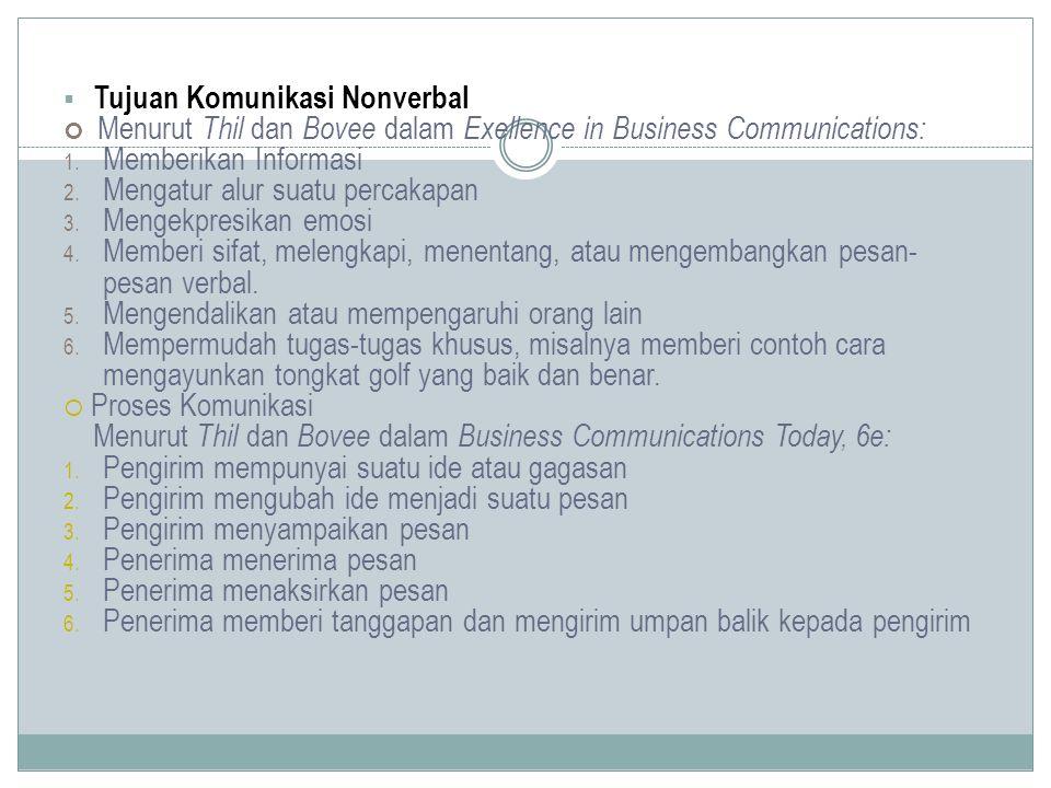  Tujuan Komunikasi Nonverbal Menurut Thil dan Bovee dalam Exellence in Business Communications: 1. Memberikan Informasi 2. Mengatur alur suatu percak