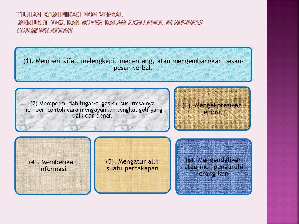 (1). Memberi sifat, melengkapi, menentang, atau mengembangkan pesan- pesan verbal. (2) Mempermudah tugas-tugas khusus, misalnya memberi contoh cara me