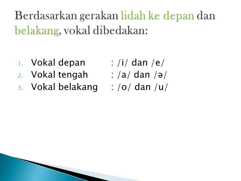 1. Vokal depan : /i/ dan /e/ 2. Vokal tengah: /a/ dan /ə/ 3. Vokal belakang: /o/ dan /u/