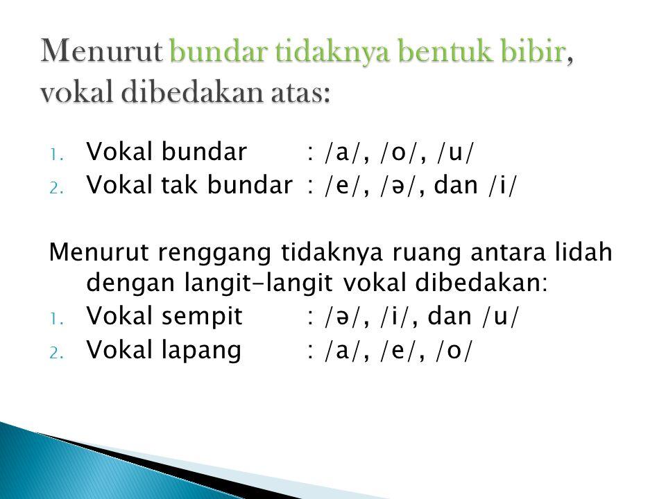 1. Vokal bundar: /a/, /o/, /u/ 2. Vokal tak bundar: /e/, /ə/, dan /i/ Menurut renggang tidaknya ruang antara lidah dengan langit-langit vokal dibedaka