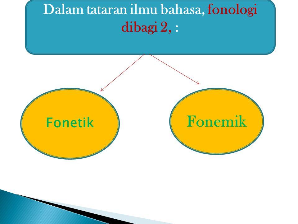 Dalam tataran ilmu bahasa, fonologi dibagi 2, : Fonetik Fonemik