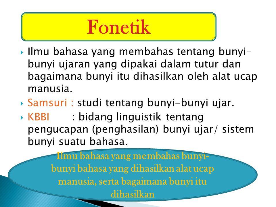  Ilmu bahasa yang membahas bunyi-bunyi bahasa yang berfungsi sebagai pembeda makna.