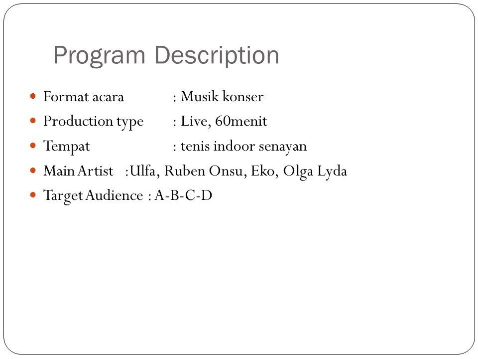 Program Description Format acara : Musik konser Production type: Live, 60menit Tempat : tenis indoor senayan Main Artist:Ulfa, Ruben Onsu, Eko, Olga Lyda Target Audience : A-B-C-D