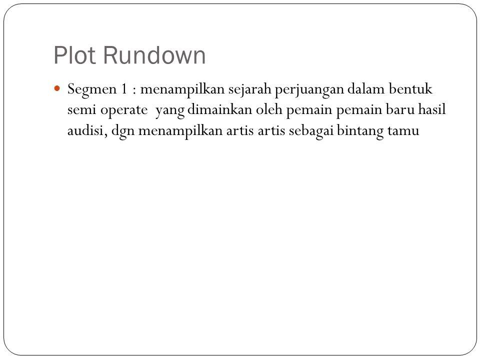 Plot Rundown Segmen 1 : menampilkan sejarah perjuangan dalam bentuk semi operate yang dimainkan oleh pemain pemain baru hasil audisi, dgn menampilkan artis artis sebagai bintang tamu